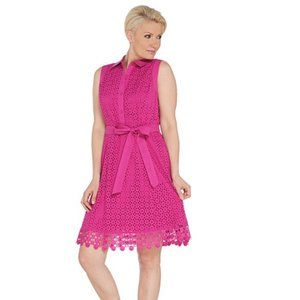 Isaac Mizrahi Live! Eyelet Shirt Dress with Lace T